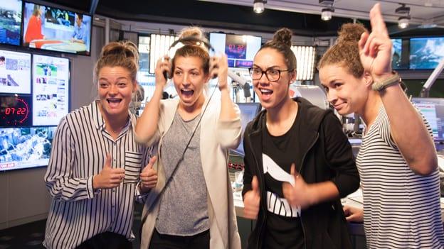 Frauenfußball-Team: Fotografiert von Anastasia Lopez bei Hitradio Ö3 (ORF)